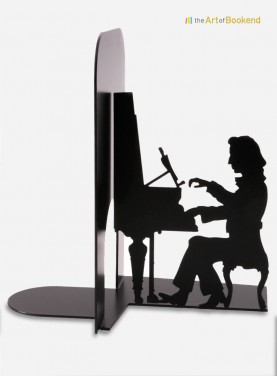 Bookend Chopin with his pianoforte. Steel laser cut. Height 19 cm