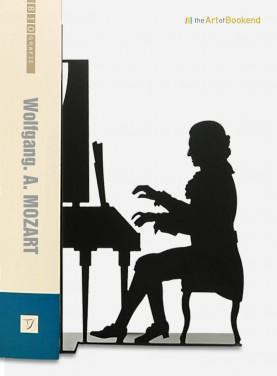 Serre-livres Wolfgang Amadeus Mozart assis devant son piano. Acier découpé laser. Hauteur 19 cm