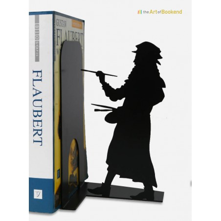 Bookend Leonardo da Vinci.  Height 19 cm.Metal laser cut creation.