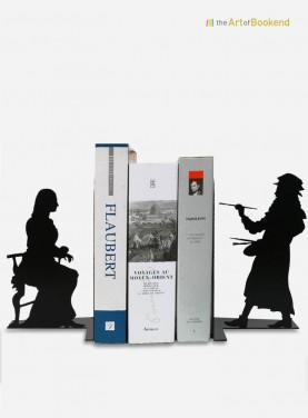 L'unique paire de serre-livres Léonard de Vinci et La Joconde. Hauteur 19 cm. Création en métal