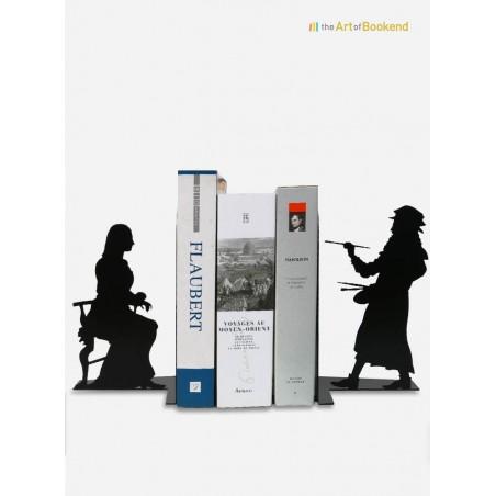 Bookends Leonardo da Vinci painting Mona Lisa. Metal laser cut creation. Height 19 cm
