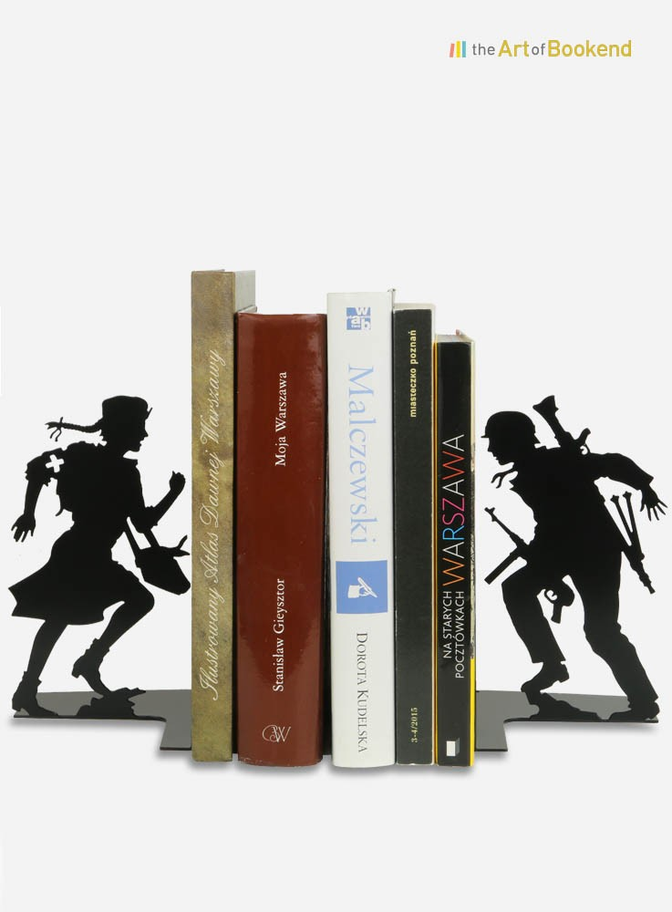 Bookends the Insurgents of the 1944 Warsaw uprising.Height 19 cm. Steel laser cut decorations