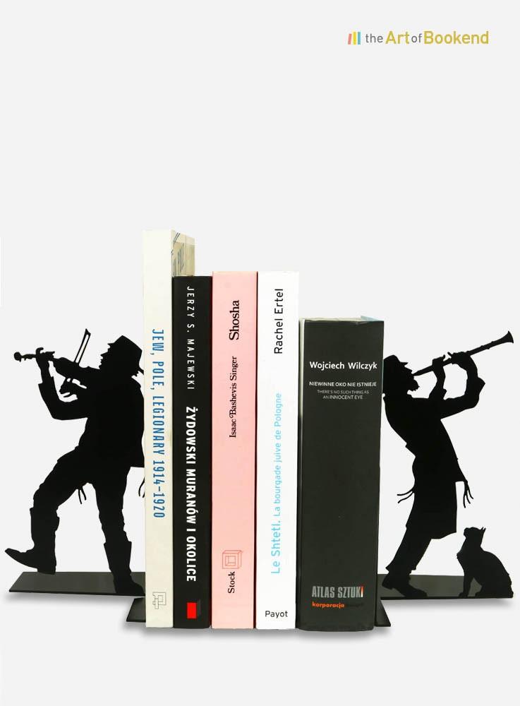 Serre-livres Klezmer sur le thème de la musique traditionnelle juive. Création en métal par découpe laser.