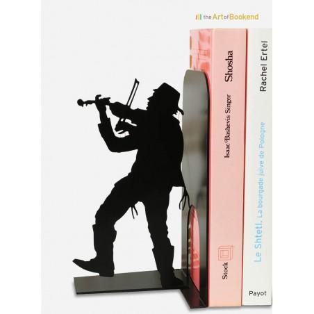 Serre-livres Klezmer le joueur de violon. Musique et culture juive. Création en métal de 19 cm