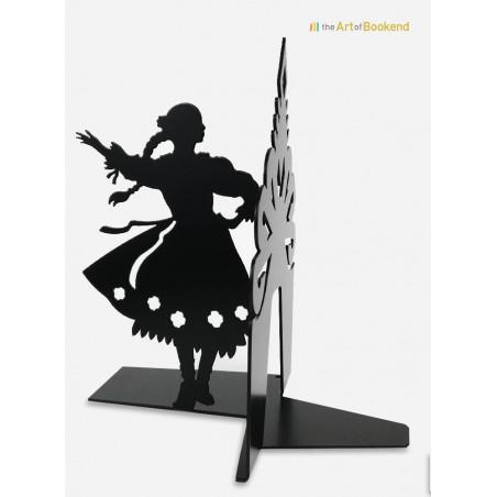 Serre-livres Górale qui présente une danseuse folklorique des montagnes Tatras. Version couleur noir. Hauteur 19 cm