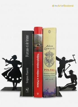 Bookends Polish Folk Górale. Height 19 cm. Steel laser cut decoration