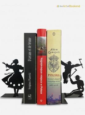 Serre-livres Górale sur le thème du folklore polonais des montagnards des Tatras. Hauteur 19 cm