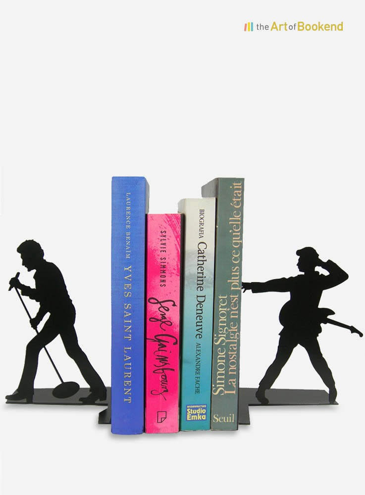 Bookends Johnny Hallyday the French rocker. Height 19 cm