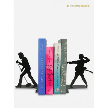 Ensemble de serre-livres Johnny Hallyday les années Twist et les années Rock. Hauteur 19 cm