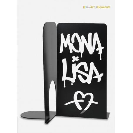 Serre-livres Mona Lisa graffiti. Décoration en métal par découpe laser. Hauteur 19 cm