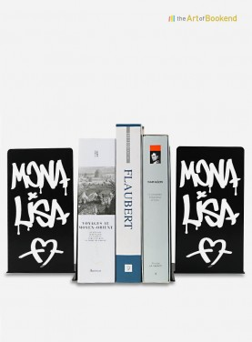 Serre-livres Mona Lisa de style graffiti. Acier découpé laser. Hauteur 19 cm