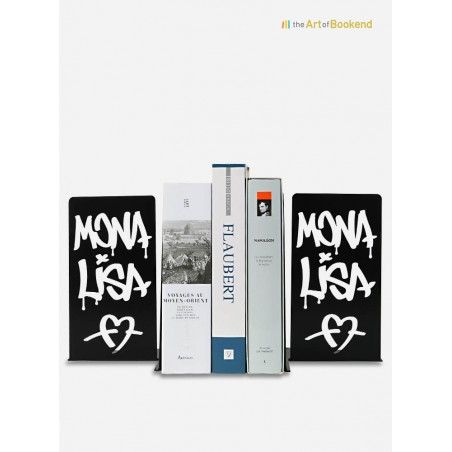 Bookends Mona Lisa Graffiti designed with a street art style. Height 19 cm
