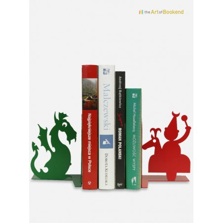 Bookends Lajkonik and the Wawel dragon.Height 15 cm. Steel laser cut decorations