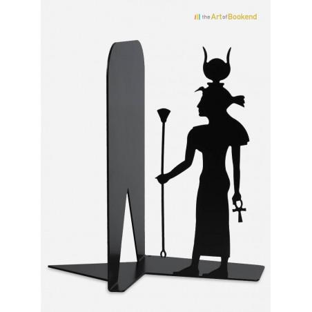 Serre-livres Egypte Isis sur le thème de l'Egypte ancienne. Hauteur 19 cm. Acier découpé laser
