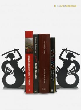 Très jolie paire de serre-livres sur le thème de la Sirène de Varsovie. Hauteur 19 cm