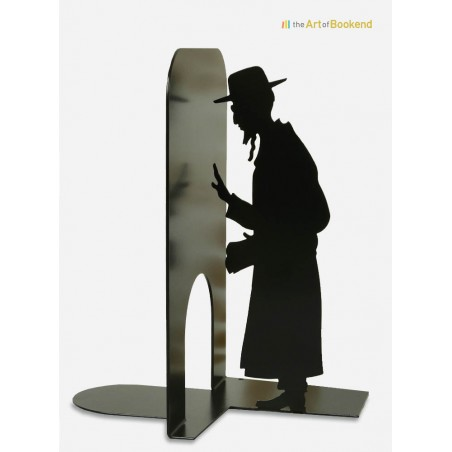 Bookend Judaica presenting an orthodox jew. Metal laser cut creation, height 19 cm