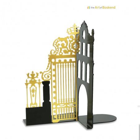 Le magnifique serre-livres Grille Royale du château de Versailles. Version gauche. Couleur noir/doré. Hauteur 19 cm