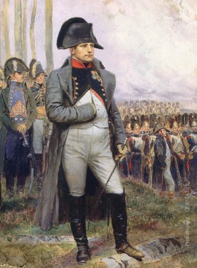 Napoleon looking at the parade of the grenadiers of the Imperial guards from a painting by Edouard Detaille