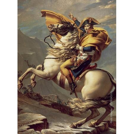 Napoléon franchissant le Grand-Saint-Bernard lors de la campagne d'Italie. Tableau de Jacques-Louis David