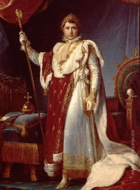 The french emperor Napoleon in coronation robes from a painting by François Gérard