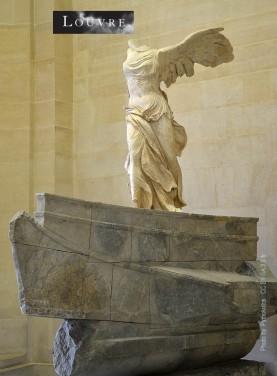 La statue de la déesse grecque de la victoire Nike découverte sur l'île de Samothrace en 1863