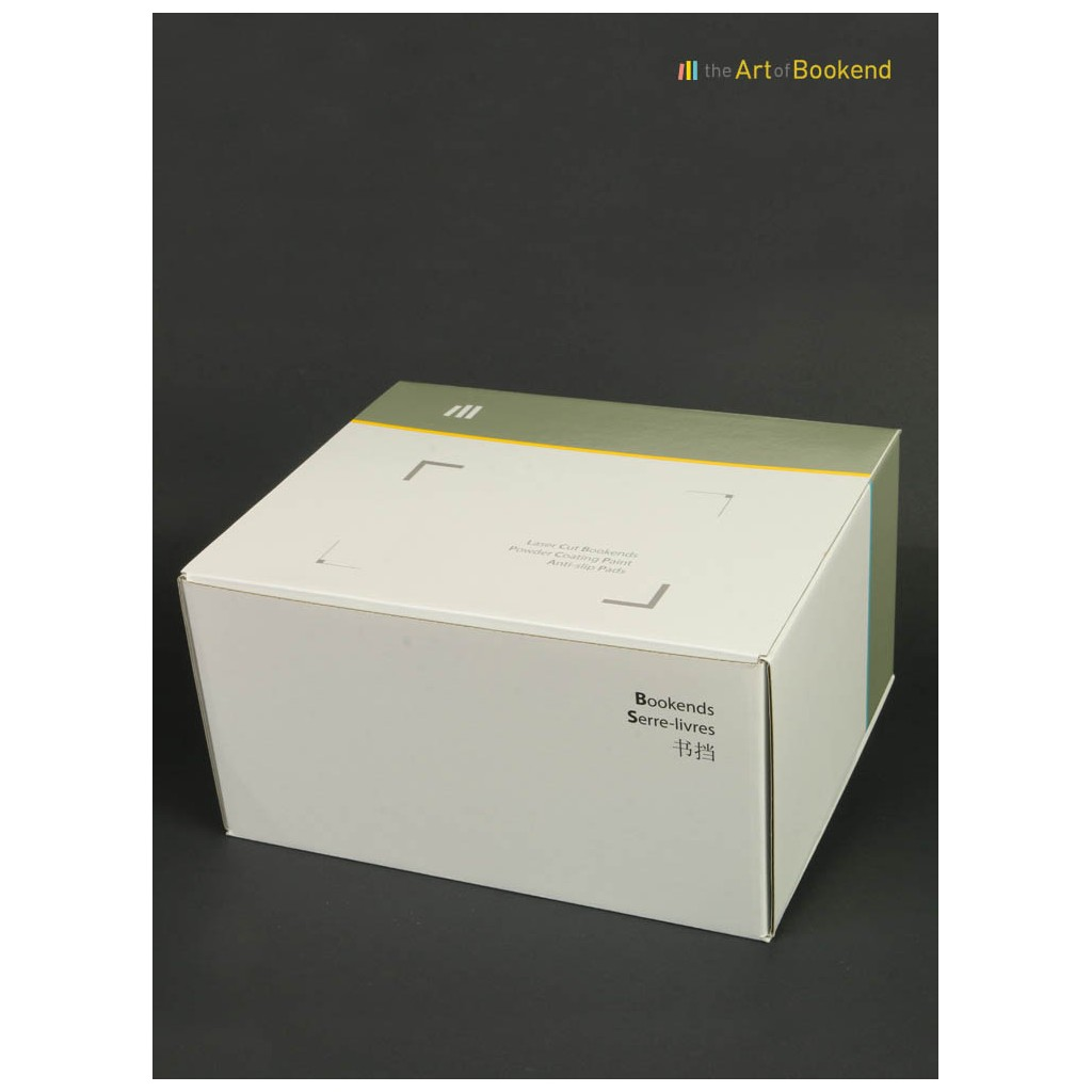 Special printed box for the packaging of a set (2) of bookends