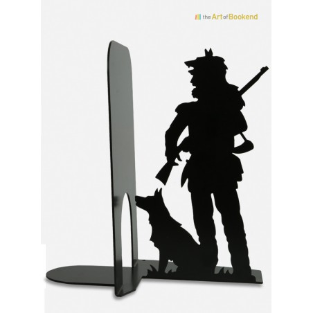 The  bookend Canadian Trapper. Height 19 cm. Metal bookend made in European Union