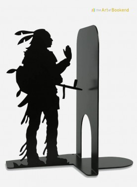 The  bookend Native American Sioux. Height 19 cm. Metal bookend made in European Union