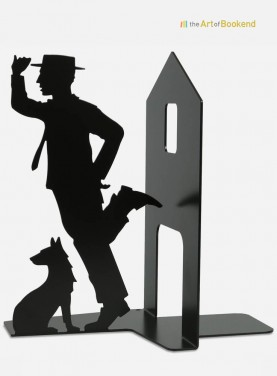 Bookend Buster Keaton. Metal decorations made in the European Union. Height 19 cm