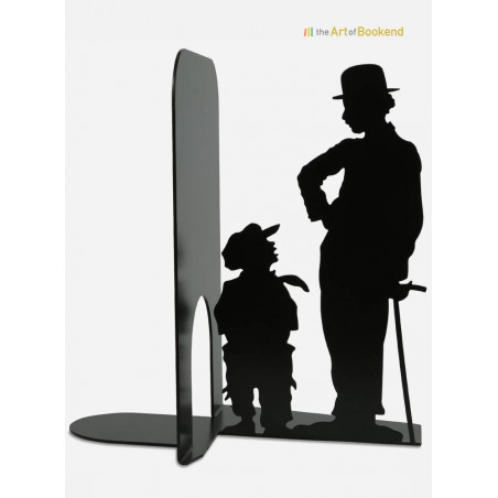Bookend Charlie Chaplin from the silent movie The Kid. Metal decorations made in the European Union. Height 19 cm