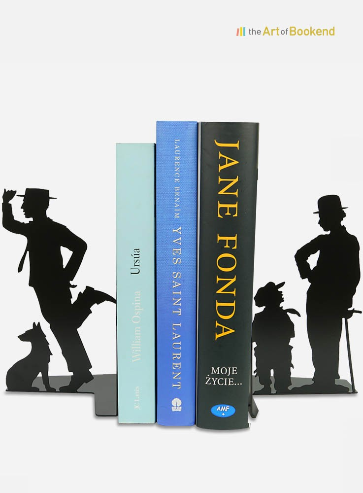 Bookends Charlie Chaplin and Buster Keaton. Metal decorations made in the European Union. Height 19 cm