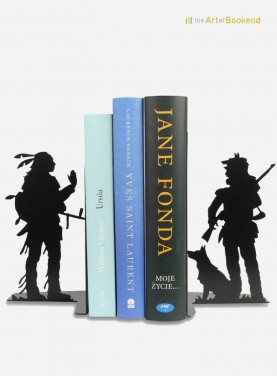 Stunning bookends Native American Sioux and Trapper. Height 19 cm. Metal bookends made in European Union