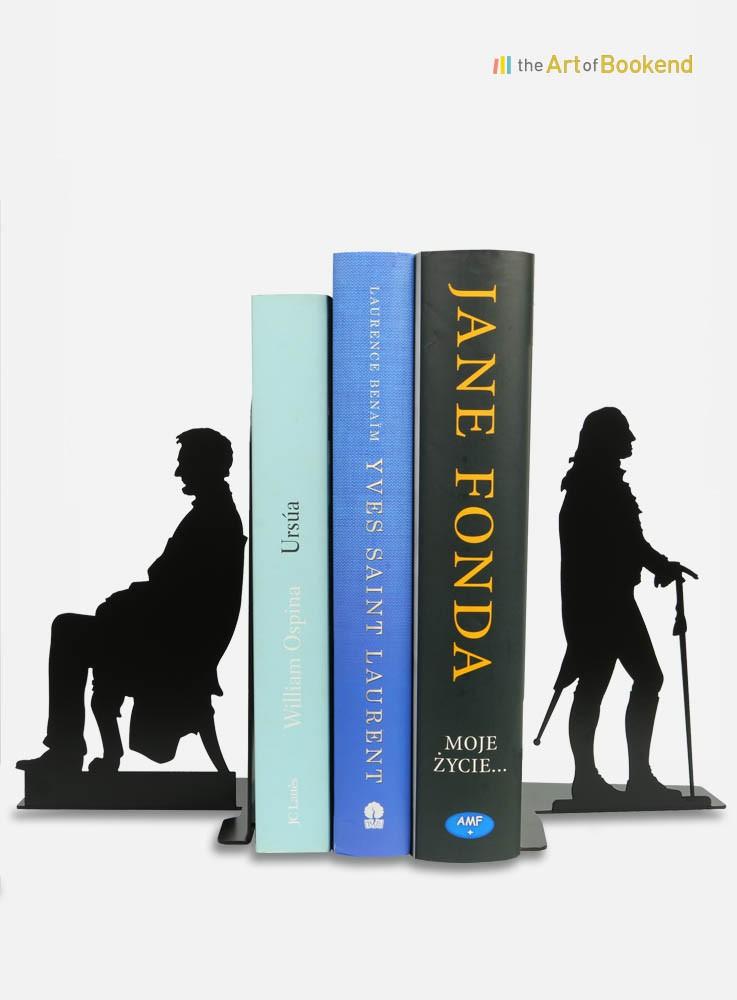 Serre-livres Abraham Lincoln et George Washington. Création en métal par découpe laser. Hauteur 19 cm